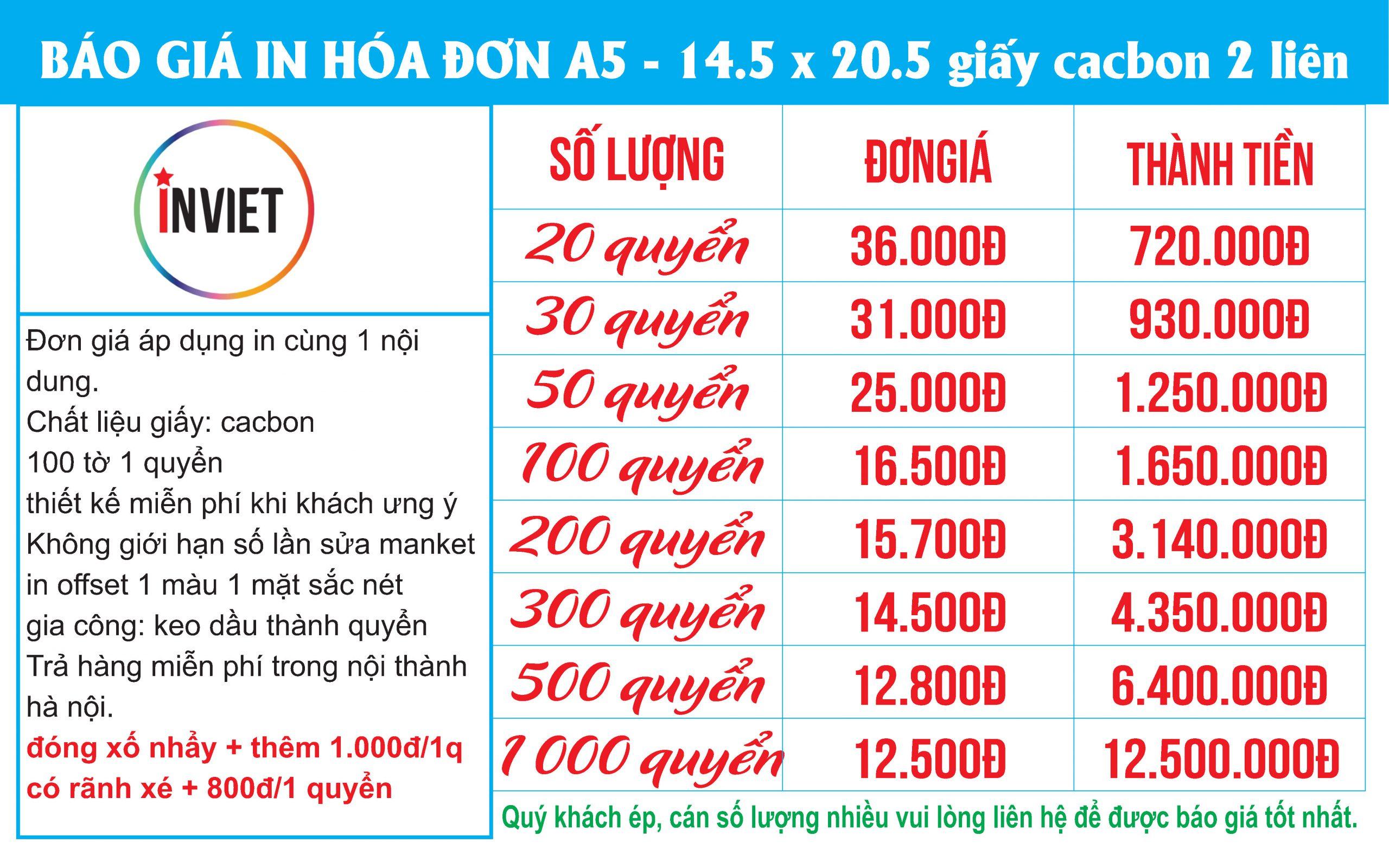 in hóa đơn A5 2 liên giá rẻ nhất tại hà nội