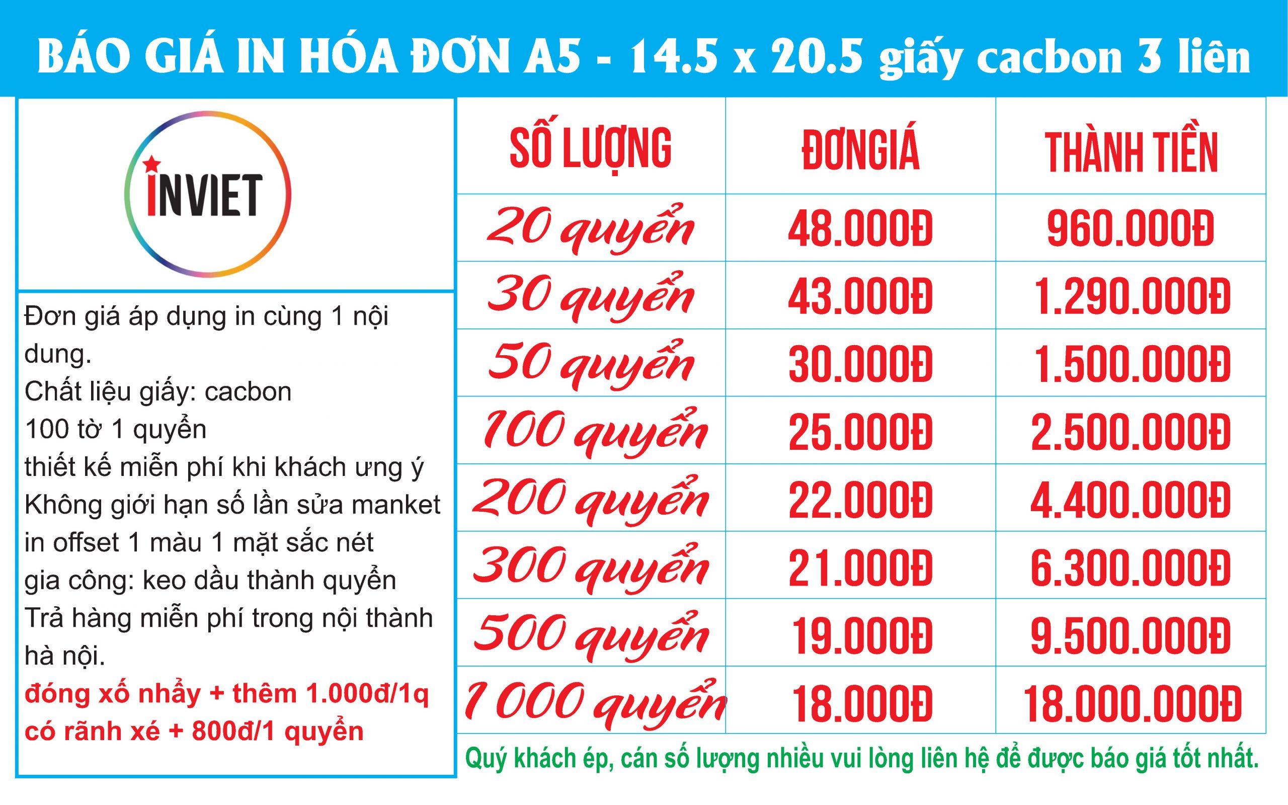 in hóa đơn A5 3 liên giá rẻ nhất tại hà nội