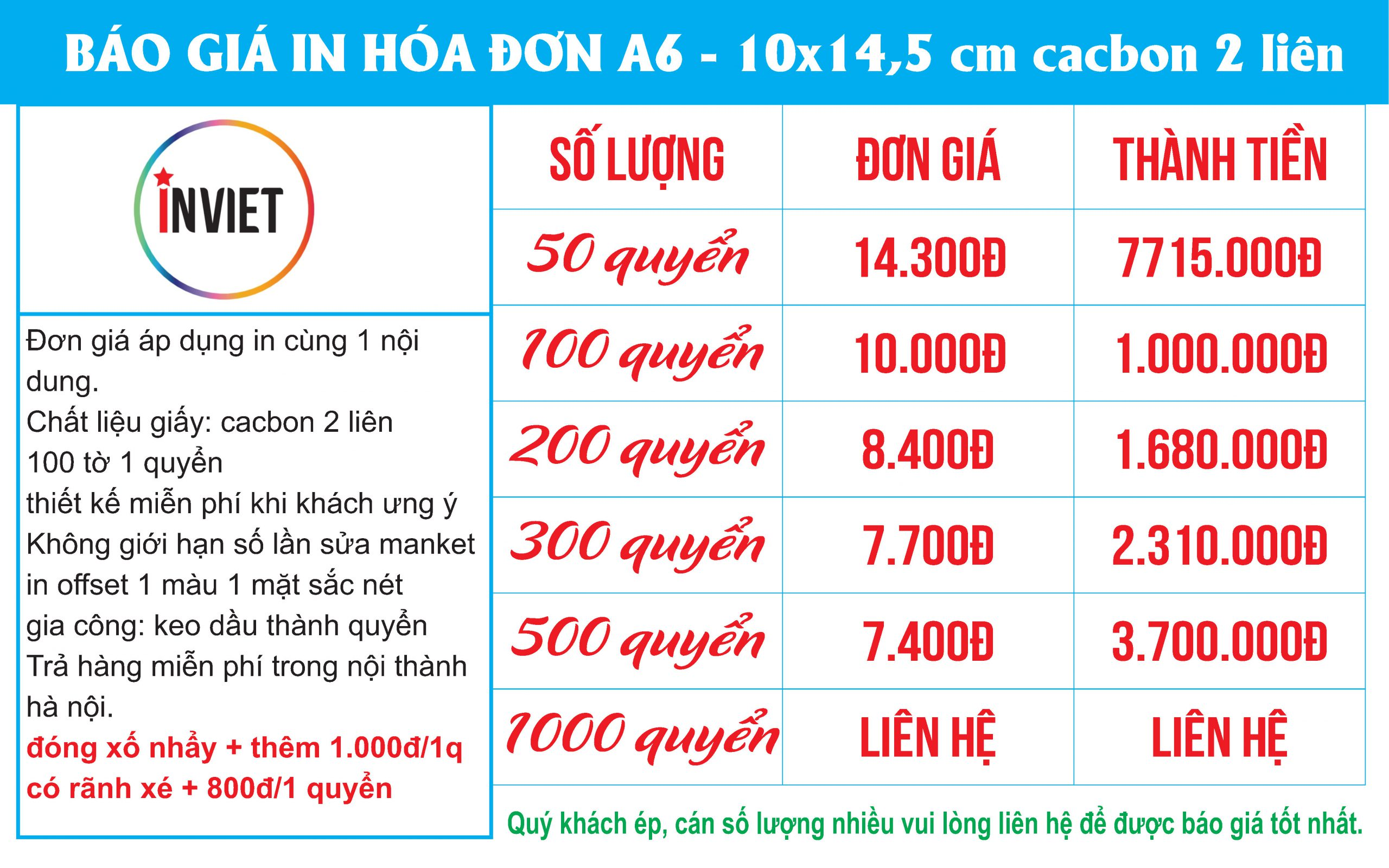 in hóa đơn A6 2 liên giá rẻ nhất tại hà nội