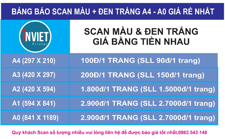 Scan màu giá rẻ, scan khổ a4 - a0 giá rẻ nhất Hà Nội